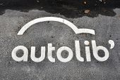 PARIS - NOVEMBER 25: An Autolib' symbol painted on the tarmac on November 25, 2011 in Paris, France.