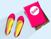 Sale Of Women Shoes. Pink Female Shoes With Pink Box. Pink Female Shoes Top View. Female Shoes With  poster