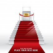 Vector Stairs with red velvet carpet.