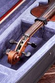 Velvet Case With Old Viola Instrument. Cello In Box. Cello Close Up Of Scroll And Peg Box. Stringed  poster