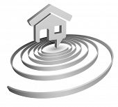 bobble speech home icon with spiral