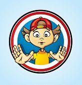 The boy in a round framework