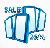 Sale of plastic windows. Blue