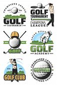 Golf Tournament And Champion League Retro Icons, Sport Club Design. Golfer With Ball And Club, Green poster