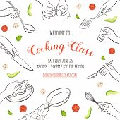 Cooking Class Flayer Template. Cooking Hands Outlines Isolated On White Background. Frame From Woman poster