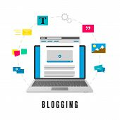 Development And Publication Blog Post. Website Development. Blogging Concept. Vector Illustration Is poster