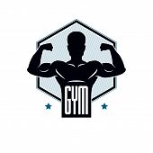 Gym Weightlifting And Fitness Sport Club Logo, Vintage Style Vector Emblem. With Sportsman Silhouett poster