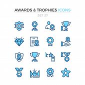 Awards And Trophies Icons. Vector Line Icons Set. Premium Quality. Simple Thin Line Design. Modern O poster
