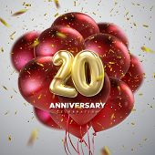 20 Anniversary Celebration. Golden Numbers With Sparkling Confetti And Red Balloon Bunch. Vector Fes poster