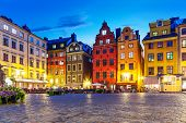 Scenic Summer Night View Of The Big Square (stortorget) In The Old Town (gamla Stan) In Stockholm, S poster