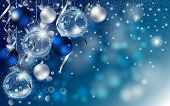 Christmas Blue Banner With Stardust Sparks And Christmas Balls. Vector New Year Design For Greeting  poster