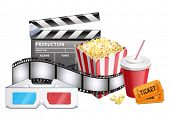 background of movie related items. Vector illustration of 3-d glasses, cardboard, popcorn, ticket, c