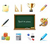 back to school vector background with education icons