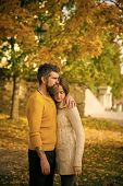 Love Relationship And Romance. Man And Woman At Yellow Tree Leaves. Couple In Love In Autumn Park. A poster