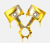 Realistic Engine Pistons Isolated On Transparent Background. Vector 3d Illustration With Detail Of M poster