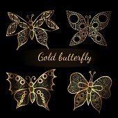 Shiny Golden Line  Butterflies On The Black Background. Butterfly Collection In Shiny Luxury Golden  poster