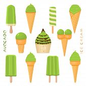 Vector Illustration For Natural Avocado Ice Cream On Stick, In Paper Bowls, Wafer Cones. Ice Cream C poster