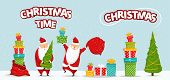 Cartoon Santa Claus Set. Funny Happy Santa Character With Christmas Tree, Pile Of Gifts, Bag With Pr poster