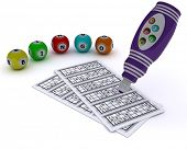 3D render of a Bingo balls and card with dabber pen