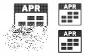 April Calendar Grid Icon In Fractured, Dotted Halftone And Entire Versions. Particles Are Combined I poster