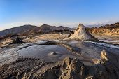 Sunset In Mud Volcanoes. Buzau County, Romania poster