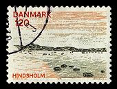 DENMARK-CIRCA 1974:A stamp printed in Denmark shows image of North Denmark Region or North Jutland Region(Region Nordjylland) is an administrative region of Denmark, circa 1974.