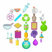 Chemical Experience Icons Set. Cartoon Set Of 25 Chemical Experience Vector Icons For Web Isolated O poster