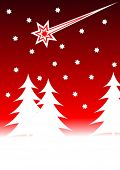 A christmas vector background illustration with christmas trees on a snowy foreground with a red starlit sky with a shooting star. With room for text