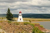 Anderson Hollow Lighthouse With A Grey Cloudy Sky In New Brunswick In Canada poster