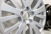 Alloy Car Wheel Isolated . Side View Of Polished Chrome Car Rim. Truck Aluminum Wheel. Steel Wheels. poster