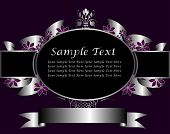 A silver floral vector design with room for text on a rich deep purple background
