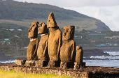Moais in Tahai, Easter island (Chile)