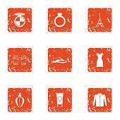 European Town Icons Set. Grunge Set Of 9 European Town Icons For Web Isolated On White Background poster