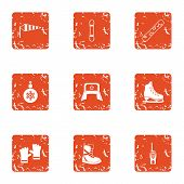 Cold Climate Icons Set. Grunge Set Of 9 Cold Climate Icons For Web Isolated On White Background poster
