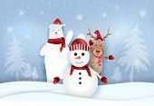 Snowman,polar Bear And Deer With Snowy Paper Art Style. Christmas Holiday Season Paper Art, Paper Cr poster