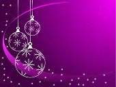 An abstract Christmas vector illustration with white outline baubles on a purple backdrop with white snowflakes and room for text
