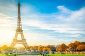 View Of Eiffel Tower With Blue Sky At Fall, Paris, France poster