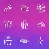 Ecology Icons Line Style Set With Clean Water, Water Crane, Almond And Other Sea Elements. Isolated  poster