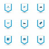 Trip Icons Colored Set With Hanger, Bathroom, Wristwatch And Other Tub Elements. Isolated  Illustrat poster