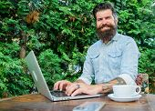 Blogger Create Post While Enjoy Coffee. Create Content For Web Blog. Man Bearded Manager Entrepreneu poster