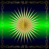 Uma ilustração de estrela de ouro vetor em um pano de fundo verde, com caixa de texto