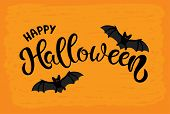 Hand Sketched Happy Halloween Text. Halloween Lettering Typography Poster. Celebration Quotation Wit poster