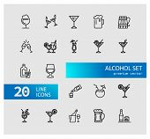 Alcohol Icons. Set Of  Line Icons. Cocktail, Toast, Martini. Alcoholic Drinks Concept. Vector Illust poster