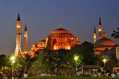 Santa Sofía de Estambul en la noche
