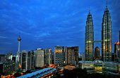 stock photo of klcc  - Early Morning Sunrise in Kuala Lumur - JPG