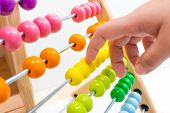 Colorful Abacus Children Toy Hand Playing For Practice Math And Calculation Learning For Kids. poster