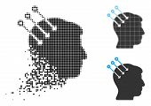 Neural Interface Connectors Icon In Dissolved, Dotted Halftone And Whole Versions. Pixels Are Arrang poster