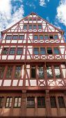 Traditional half timbered house at Romer Square (Römerplatz / Roemerplatz) in the city of Frankfurt Main, Germany