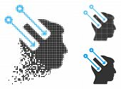 Neural Interface Icon In Dispersed, Dotted Halftone And Undamaged Versions. Fragments Are Combined I poster