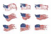 Vintage Waving Usa Flag Set. Vector Waving American Flags On Grunge Texture. poster
